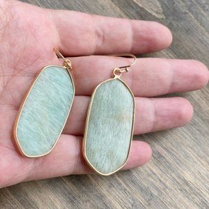 GOLD AQUAMARINE STATEMENT DROP EARRINGS
